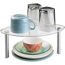 mDesign freistehendes Eckregal – Küchenregal für Küchenschrank oder Arbeitsplatte – durchsichtiges Standregal – stapelbar