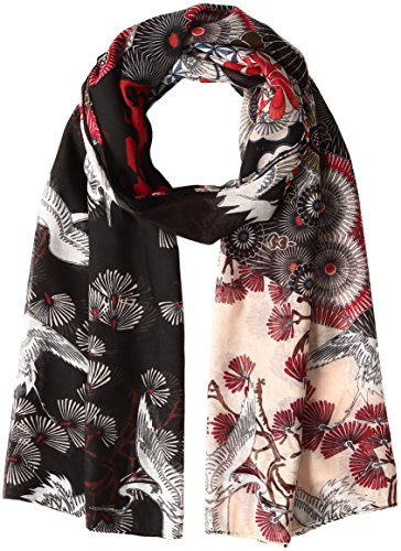 Desigual Women's FOULARD_RECTANGLE JAPANFRESH collar_type Shawl, Black (NEGRO 2000), One size (Manufacturer size: One size)