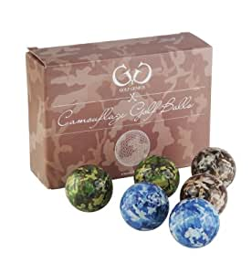 Golf Genius Novelty Gift Set of 6 Novelty Camouflage Golf Balls - great gift for any golfer *GIFT BOXED* (camo)
