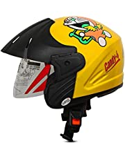 ACTIVE CANDY-4 Open Face Face Helmet for Kids from 3 to 6 Years (YELLOW,Size-Extra Small)(CARTOON CHARACTERs MAY VERY) (YELLOW)
