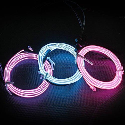 iviert Neon leuchtende Strobing Elektrolumineszenzdraht Ton aktiviertes EL-Draht für Party-Tanz-Auto-Dekor Halloween Dekoration ... (Rosa Violett Blau) (Halloween-dekor)