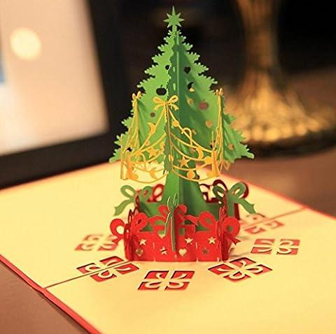 Aoligei Noël Créatif Stéréo Arbre de Noël Carte de voeux Carte de bénédiction