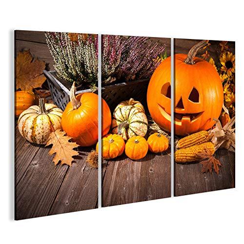 bilderfelix® Herbst Stillleben mit Halloween Kürbisse auf Alten hölzernen Hintergrund Wandbild Leinwandbild Poster DNV