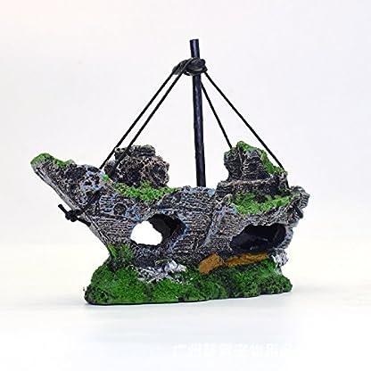 Kfnire Resin Fishing Boat Aquarium Ornament Plastic Decoration Plant for Fish Tank Accessories 6