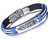 Unendlich U Fashion LOVE Paar Armband Armreif Partner Armbänder Geflochten Leder Legierung Manschette Armschmuck, Blau