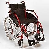 Ligera silla de ruedas plegable autopropulsión con ruedas de liberación rápida en rojo metálico