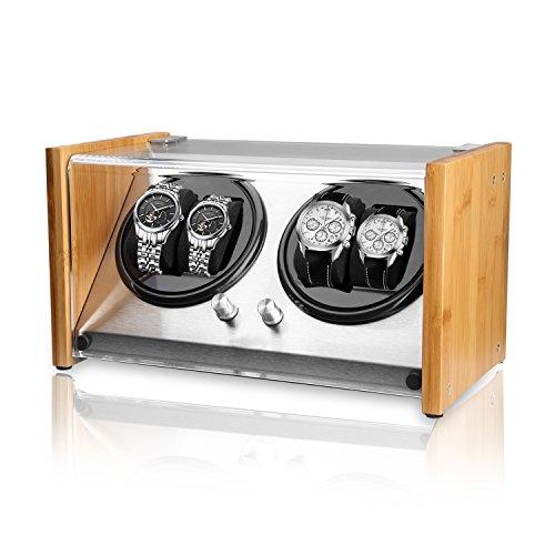 Watch Winder Smith® Uhrenbeweger für 4 Uhren, 5 Modi, Super Leiser Motor, Crystal Uhrenbeweger von Natürliches Bambusgehäuse, Entmagnetisiert Edelstahlrahmen, Super Handwerk