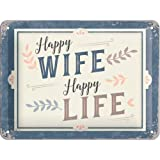Nostalgic-Art 26239 - Happy Wife Happy Life , Retro Blechschild , Vintage-Schild , Wand-Dekoration , Metall , 15x20 cm