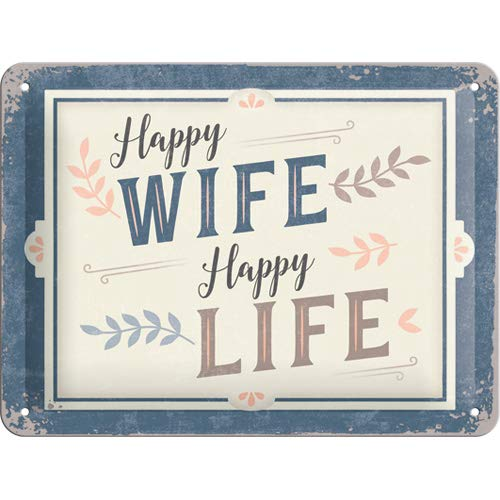Nostalgic-Art 26239 - Happy Wife Happy Life , Retro Blechschild , Vintage-Schild , Wand-Dekoration , Metall , 15x20 cm