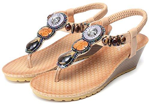 Odema sandali comodi da spiaggia bohemian con tacco a scivolo con perle da donna albicocca#1