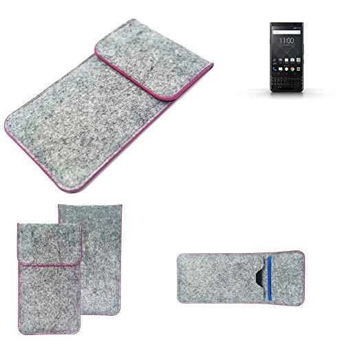 K-S-Trade® Filz Schutz Hülle Für -BlackBerry KEYone Black Edition- Schutzhülle Filztasche Pouch Tasche Case Sleeve Handyhülle Filzhülle Hellgrau Pinker Rand