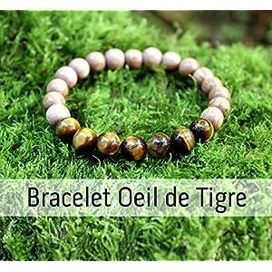 Tigerauge und Holzperlen Armband für Damen, Naturstein, Heilstein, Edelstein, Schutzarmband, Geburtstagsgeschenk, Damen Geschenke, Frauen Armreif