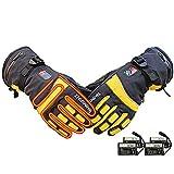 TSSM Elektrisch beheizte Handschuhe, Motorrad beheizte Handschuhe für Männer und Frauen Intelligente Temperaturregelung mit DREI Geschwindigkeiten Wiederaufladbare Batterien,Gelb -