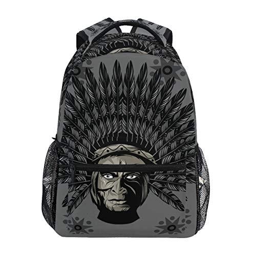 American Native Indian Warrior Rucksack Schultasche Reiserucksack für Studenten Mann Frau, Laptop Rucksack Casual Daypack für Reisen/College/Arbeit