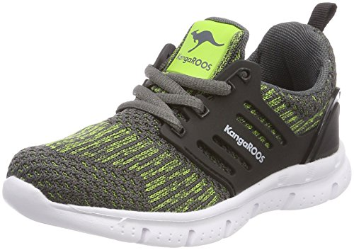 KangaROOS Unisex-Kinder Draga Kids Sneaker, Grau (Steel Grey/Lime), 34 EU