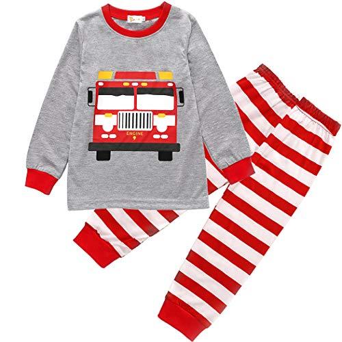 weiteiliger Schlafanzug Baumwolle Lange Nachtwäsche Kinder Pyjama- Gr. 104(Herstellergröße 110), Grau-01 ()