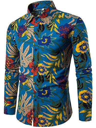 CLOCOLOR-Camisa-Hawaiana-Hombre-de-Manga-Camisa-Algodn-para-Hombre-Casual-Talla-Grande-Camiseta-Brasilea-Hombre-Estampado-Dimensin-Ropa-de-Hombre-Casuale-Men-Shirts-Slim-Fit-de-Moda-Azul-3XL