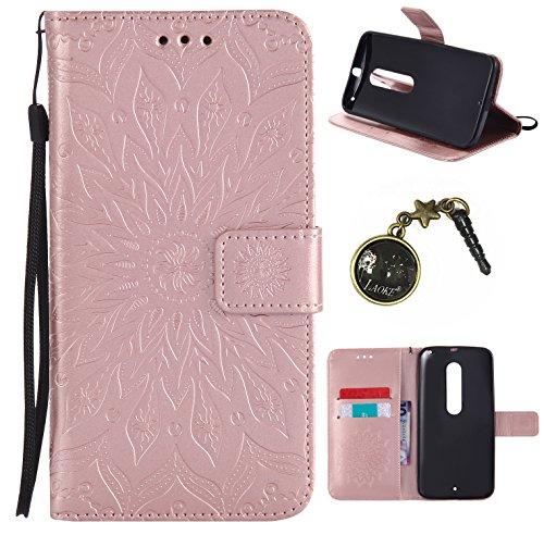 Preisvergleich Produktbild für Moto X Style Hülle,Hochwertige Kunst-Leder-Hülle mit Magnetverschluss Flip Cover Tasche Leder [Kartenfächer] Schutzhülle Lederbrieftasche Executive Design +Staubstecker (1GG)