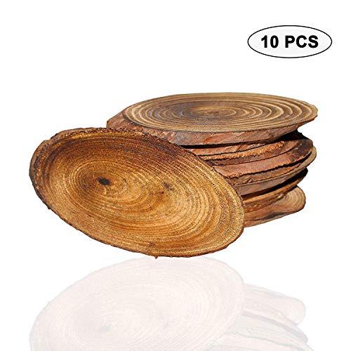 Natürliche Holzscheiben,(10er Pack), Oval,9-11 cm - Glatt, Unvollendet, Rustikal,Leer Holzscheiben mit Rinde, 5mm dick, Hölzerne Runden für DIY, Hobby, Hochzeitsdekoration, Kunsthandwerk, Verzierungen