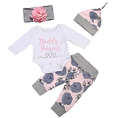 BOBORA Baby Girls Daddy's Little Princess Romper + Flowers Pants + Hat + Flower Headband 4PCs Outfit