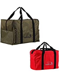 Ultralite Polyster Milltary Green & Red Duffle Bag Combo Pack Of 2 ( 55 L + 35 L )