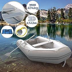Barca Hinchable para 3 Personas | 270 x 152 cm, con 2 Remos de Aluminio y Bomba, Capacidad 474 kg, Suelo de Madera, para 3 Personas Adultas y 1 Niño | Bote Neumático, Barco Inflable, Barco de Pesca