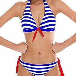 heekpek Traje de Baño Sexy Bañador de Baño Conjunto de Bikini Traje de Baño 2018 De Moda Verano Rayas Tops y Braguitas 2 Piezas Traje de Baño (Azul,ES40-42)