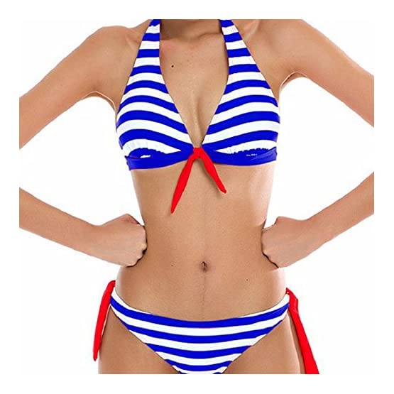 dbf473f34a19 heekpek Traje de Baño Sexy Bañador de Baño Conjunto de Bikini Traje de Baño  De Moda Verano Rayas Tops y Braguitas 2 Piezas Traje de Baño