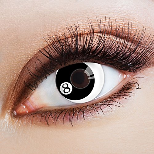 aricona Kontaktlinsen Farblinsen weiße Kontaktlinsen schwarz Halloween Make-up Gothic Kostüm (Goth Make-up Für Halloween)