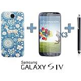 OnlineBestDigital - Carving Pattern Battery Cover / Housse pour Samsung Galaxy S4 IV I9500 / I9505 - Style K avec 3 Film de Protection et Stylet