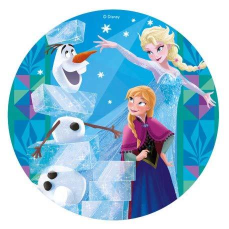 Este disco de oblea de Frozen es perfecto para una tarta de cumpleaños infantil. Haz una fiesta temática con la princesa Elsa, Ana y Olaf de protagonistas, unos de los personajes Disney más famosos del momento. Ingredientes: fécula de patata, agua, a...