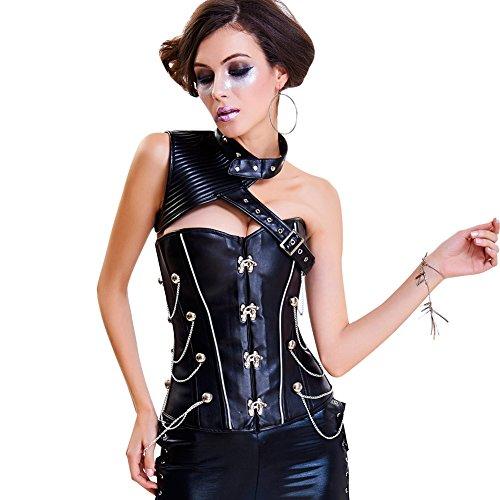 Gothic Korsage Damen Steampunk Brokat Bustiers und Korsetts Korsage mit Stahlstäbchen Kostüm Halloween Weihnachten (Korsett Stil Brokat)