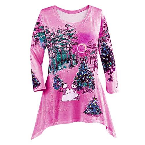 BOLANQ Damen Winter Festival Tops Weihnachten Langarm unregelmäßiger Saum Top Pullover(Small,Hot pink)