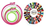 #4: Goelx Plastic Embroidery Hoop/Frame with Embroidery Floss for Crafters & Designers. Set of 6 different sizes 4, 6, 8, 10, 12,14 inches with 100 Thread Floss in 12 Colours