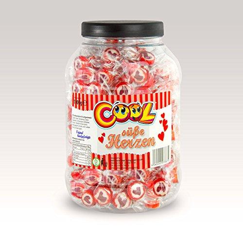 Herzbonbons Rocks Bonbons - Süße Herzen - zu Hochzeit Taufe Kommunion 1000g rot-weiß - handgewickelte Rocks-Bonbons mit rotem Herz - Tischdeko in der praktischen Dose
