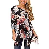 Damen Langarm Bluse, Frashing Unregelmäßiges langärmliges T-Shirt Drucken Rundhals-Shirt A-Linie Freizeithemd Herbst Bluse Oberteile Pullover Sweatshirt