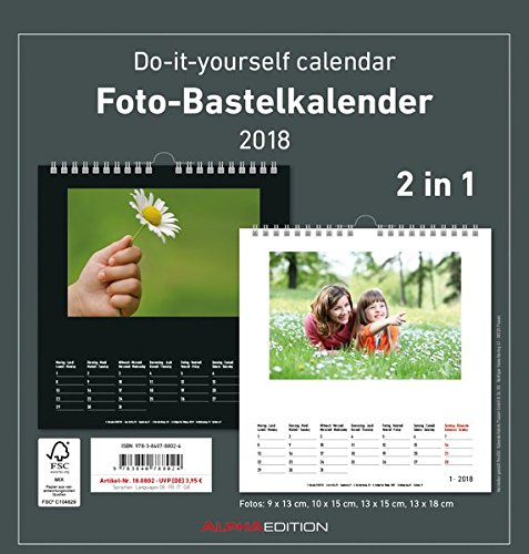 Foto-Bastelkalender 2018 s/w datiert: Do it yourself calendar