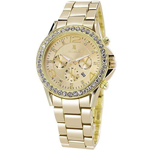 XLORDX Classic Designer Datum Strass Damenuhr Gold Uhr Edelstahl Chronograph Optik Silber Strassuhr Armbanduhr