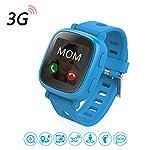 Oaxis Kids Uhr Telefon für Kinder, erste 3G SIM Karte Unterstützte Kind Smartwatch mit GPS Tracker Eignung Anti-verloren SOS Finder Geo Benzet Touchscreen (Blau)