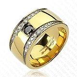 Paula & Fritz® Ring Titan gold 11mm breit Multi Zirkonia Classic Design 60 (19...