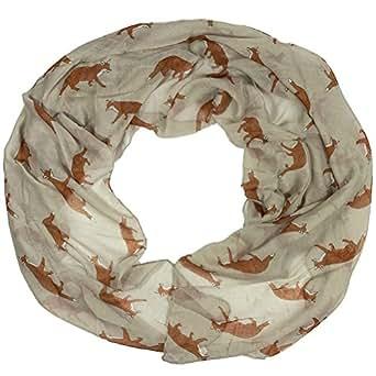 Women scarves fox print large lightweight scarf shawl wrap (Stone (Style 2))