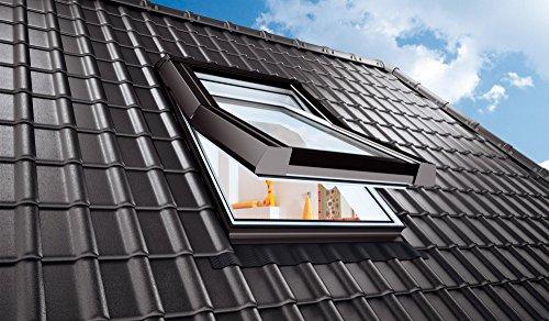 BLITZVERSAND!!! AFG - Skylight Dachfenster Schwingfenster PVC 66 x 118 mit Eindeckrahmen für Dachziegel Außenfarbe Dunkelbraun! Schwingfenster Dachflächenfenster