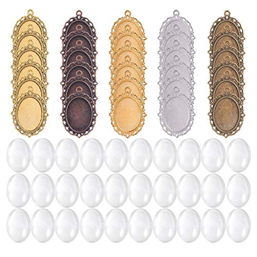 PandaHall Elite 30 pezzi colori lega assortiti ciondoli vassoi cornici ovali e 30 pezzi in oval vetro cabochon, in totale 60 pezzi/30 set, Accessori per creazione gioielli