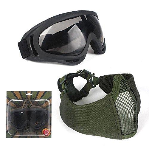 AOLVO Airsoft Masken, verstellbar, mit Metall-Stahl Netz Gesichtsmaske und UV400Brille für Jagd/Paintball, Militär-Stil, armee-grün -