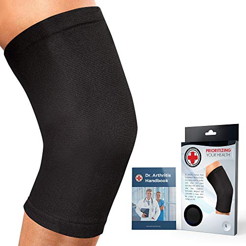 Ärztlich Entwickelte Premium Knieorthese/Kniestütze/Kniebandage (Schwarz, XXL) (Für Knieorthese Xxl Arthritis)