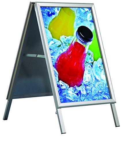 DISPLAY SALES Cavalletto pubblicitario da esterno impermeabile, DIN A1, supporto per manifesti 32 mm, angoli arrotondati