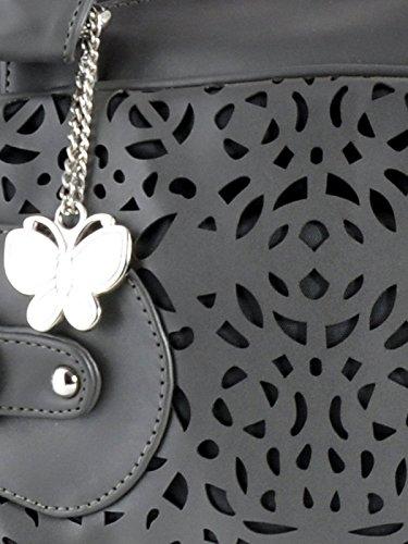 Butterflies Damenhandtasche Faux Umhängetasche Geldbeuteltotalisator Leder Cutwork Grau