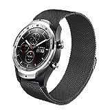 Aimtel für Ticwatch Pro Milanese Band, 22MM Milanese Magnetic Zubehör Edelstahl Ersatzuhr Uhrenband Armband Strap Band für Ticwatch Pro(Schwarz)