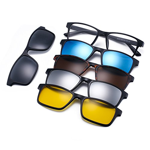 JIM HALO Magnetisch 5Pcs Polarisiert Clip auf Sonnenbrille Rechteck Plastik Rahmen für Nacht fahrten 2247A