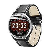 LCDIEB Reloj Deportivo Soporte Smart Watch Electrocardiograma Medición 3DFitness Tracker Smartwatch Free Negro Silican Strap, Negro